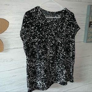HALOGEN XL confetti blouse seasonless top B/W